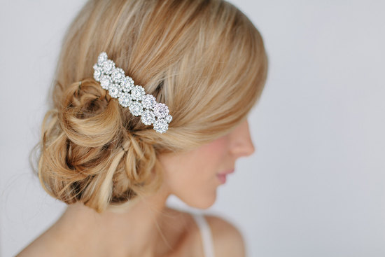 Crystal flower wedding hair clip