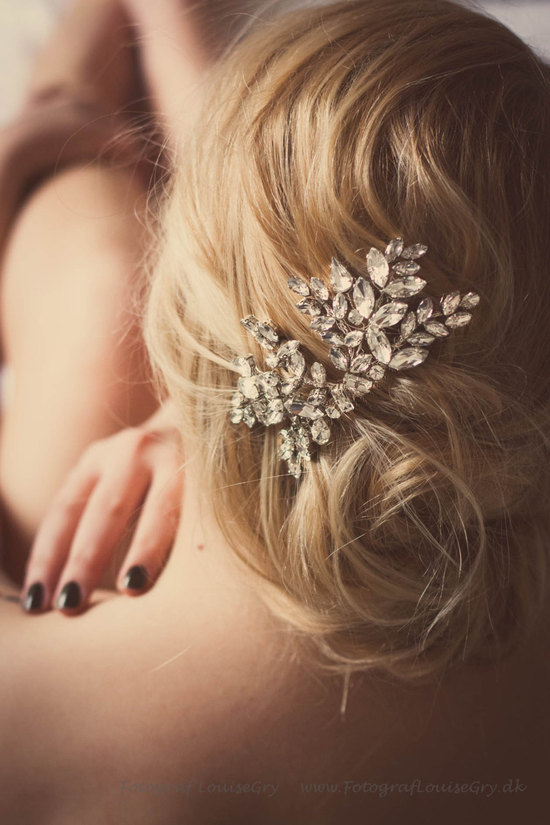 Crystal rhinestone wedding hair clip for bridal updo
