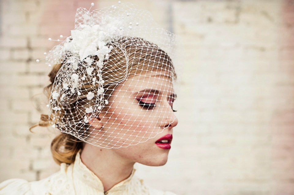 Birdcage veil with vintage flower spray