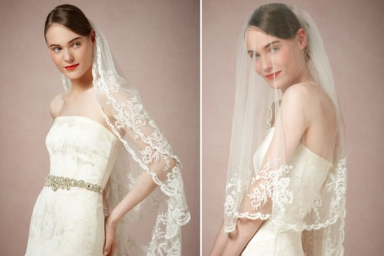 BHLDN wedding veils 2013 classic ivory lace