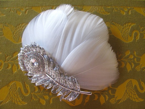 White peacock feather wedding fascinator