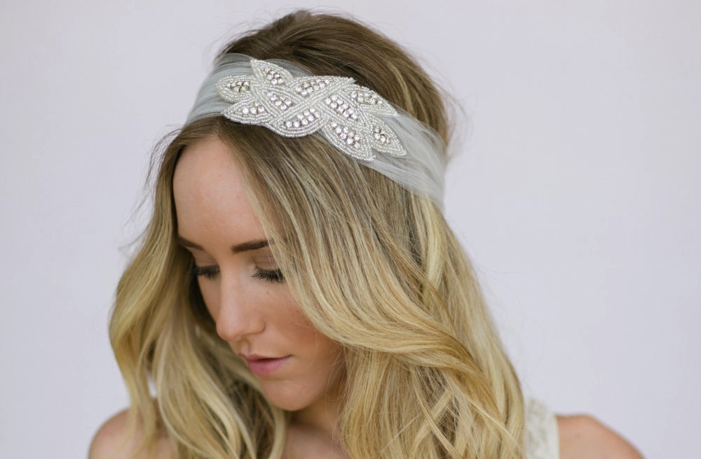 tulle wedding hair wrap with crystal accent | OneWed.com