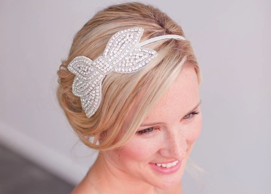 Beaded bow wedding headband