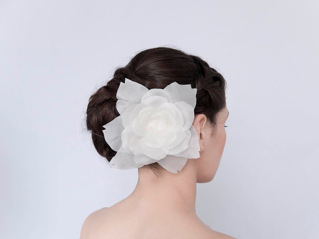 Celeste organza wedding hair flower