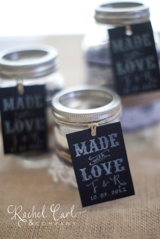 Wedding Favor Tags For Mason Jars : Chalkboard wedding favor tags on mason jars OneWed.com