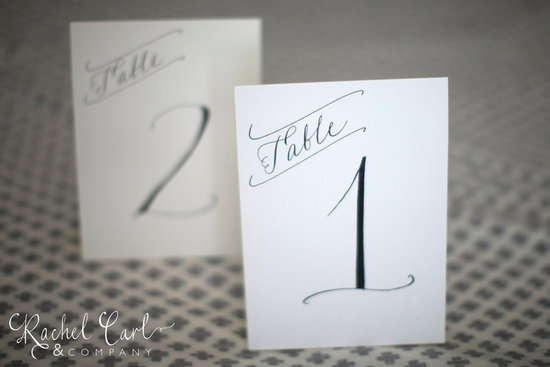 Simple elegance wedding table numbers