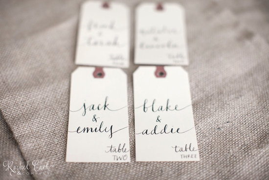 Vintage luggage tag escort cards