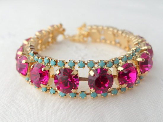 pink and turquoise wedding bracelet