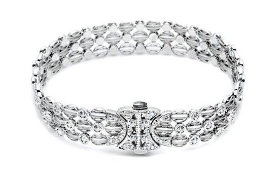 photo of white gold diamond wedding bracelet tacori