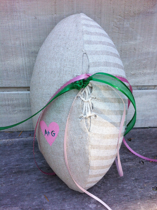 Burlap football ring bearer pillow