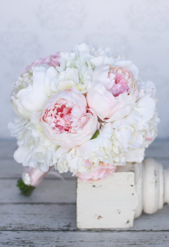 Pastel pink and ivory silk peony wedding bouquet