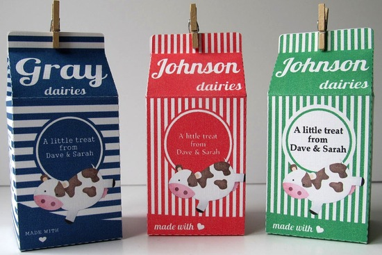 Striped wedding favor cartons navy red green