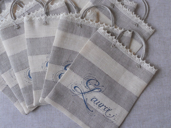 Striped linen and lace bridesmaid gift bags
