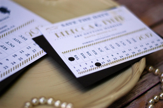 Punch card wedding save the date