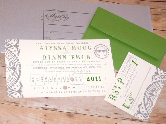 Green gray and ivory punch card wedding invitation