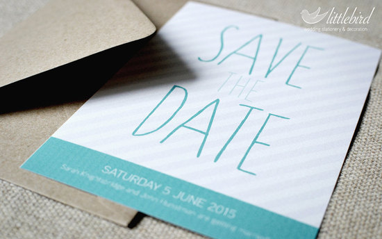 Modern stripes wedding save the date aqua gray