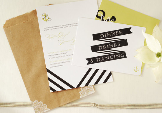 Nautical stripe wedding invitation set
