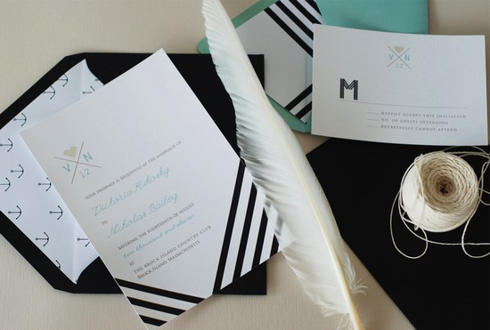 Chevron stripes elegant wedding invitations