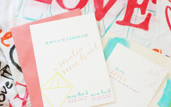 Neon diamonds modern wedding invitations