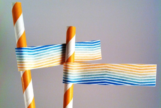 Summery striped wedding straws and drink flags