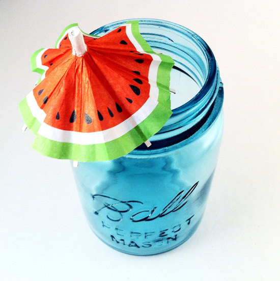 Mason jar wedding favors with watermelon drink flag