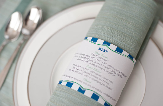 Printable striped napkin rings for wedding reception