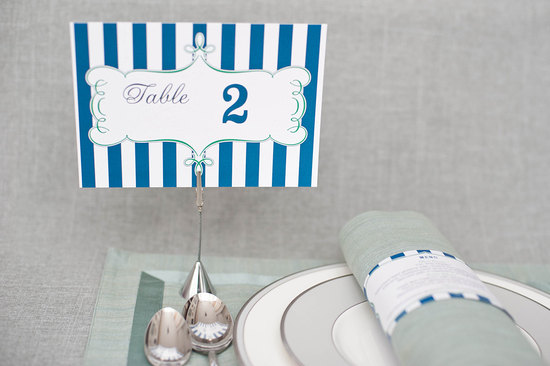 Navy aqua white wedding table numbers