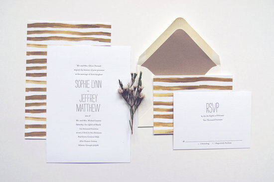 Handpainted stripes wedding invitations