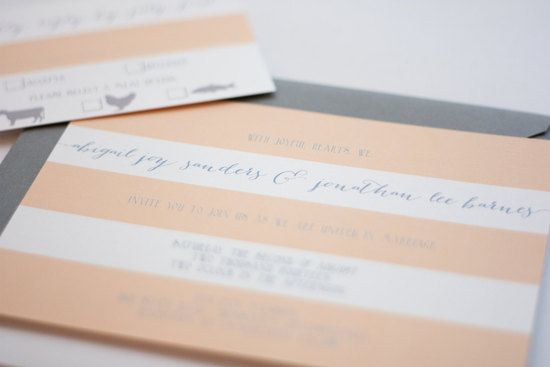 Peach white gray modern striped wedding invitations