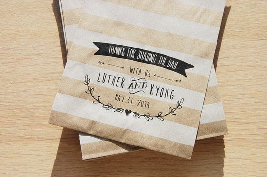 Striped kraft paper wedding favor bags
