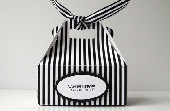 Black and white striped wedding favor takeout boxes
