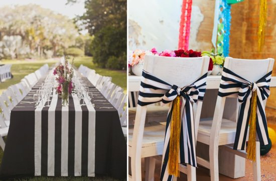 Black and white striped wedding chair and table decor