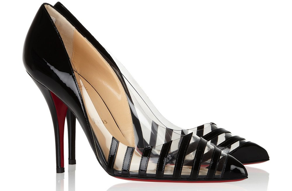eb787070697 Christian Louboutin wedding shoes clear with black stripes