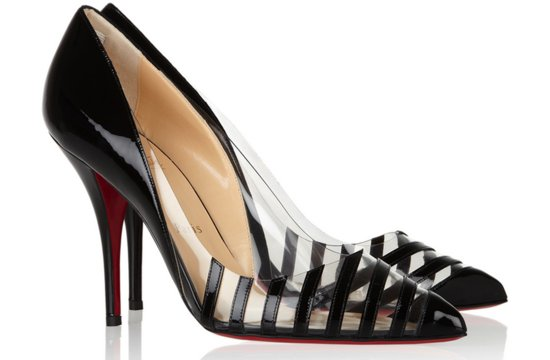 Christian Louboutin wedding shoes clear with black stripes