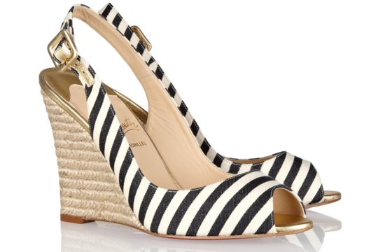 Striped bridal wedges Christian Louboutin wedding shoes