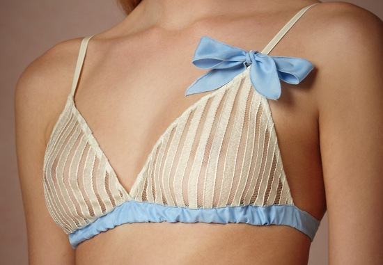 BHLDN bridal lingerie ivory striped bra with something blue bow