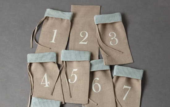 Rustic linen wedding favor bags or table numbers