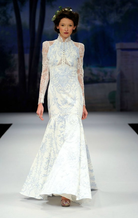 printed wedding dresses 2012 bridal gown trend sleeves blue