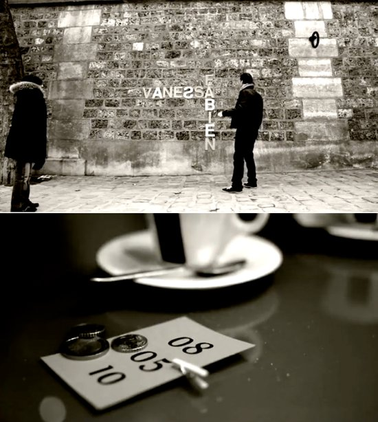 photo of video save the date black white