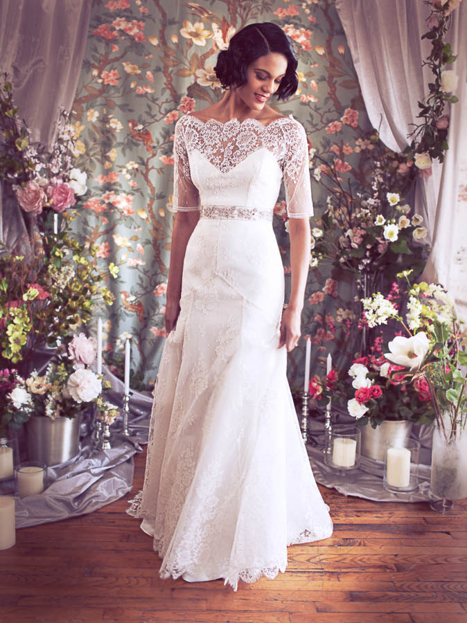 stunning 3 quarter sleeve lace wedding dress