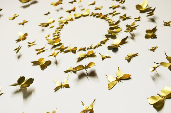 photo of Gold butterfly wedding wall art