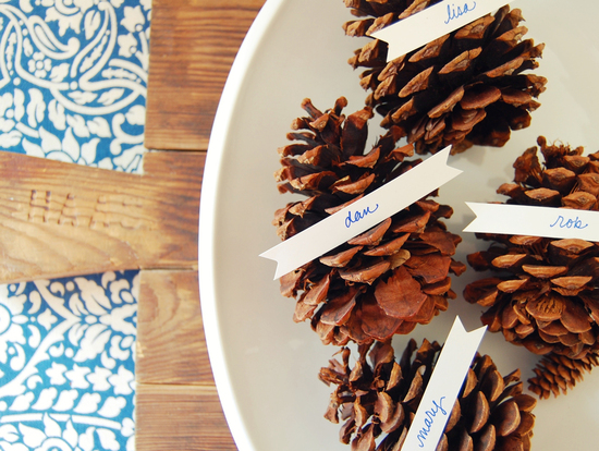 pine cone escort cards winter wedding ideas