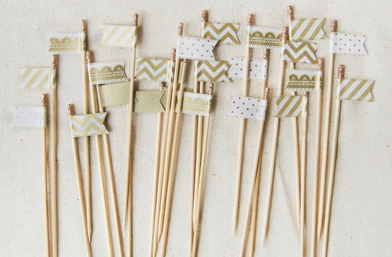 Gold chevron and lace wedding drink flags