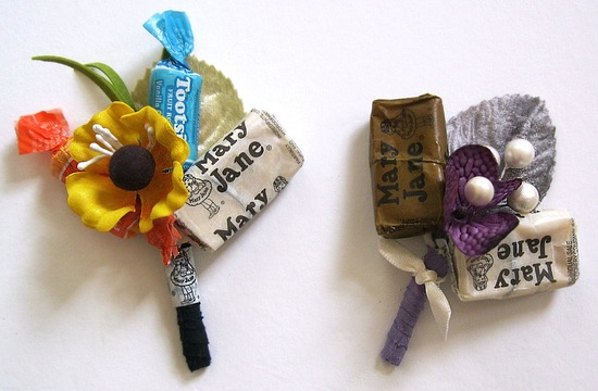 Candy boutonniere for sweets loving grooms
