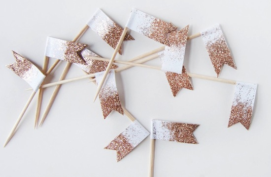 gold glitter on white wedding drink flags