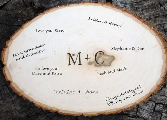 Wood slice wedding guest book
