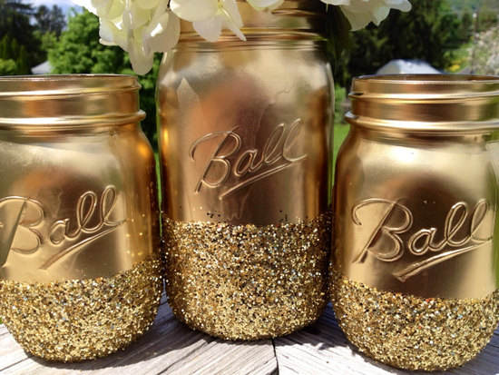 Gilded gold mason jars for wedding centerpiece vases