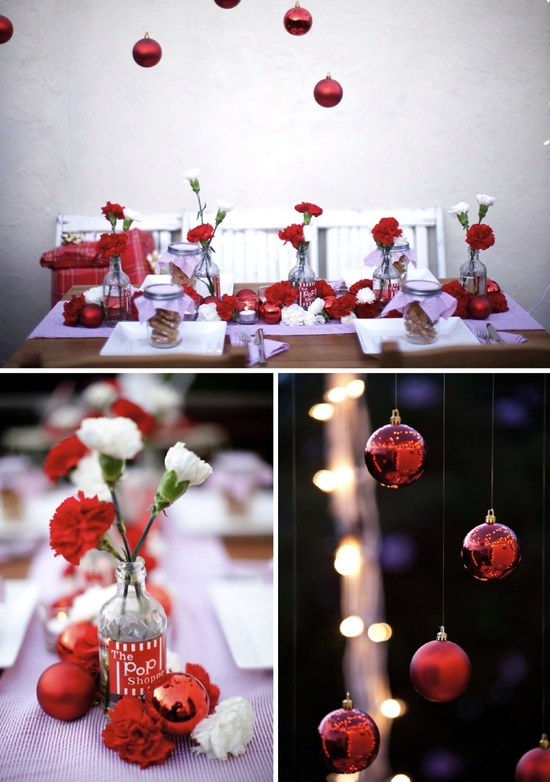 holiday insoired wedding tablescape red white