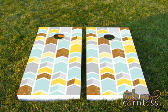 chevron wedding cornhole set gold pastels yellow