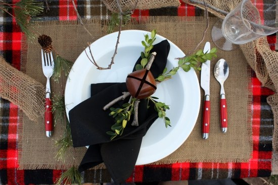 holiday inspired wedding reception table place setting